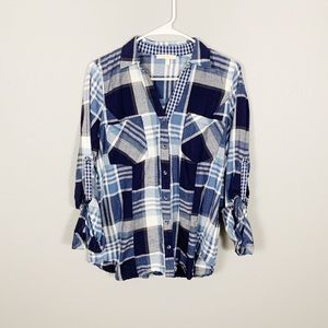 Anthropologie Plaid Button Down Distressed Top